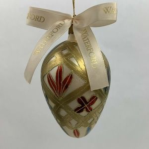 Waterford Glass Lismore Holiday Egg Ornament Gold